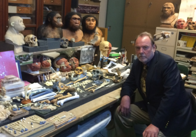 Ian Tattersall in a research lab in the Department of Anthropology, American Museum of Natural History