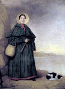 Mary Anning with her rock hammer and her dog, Tray.